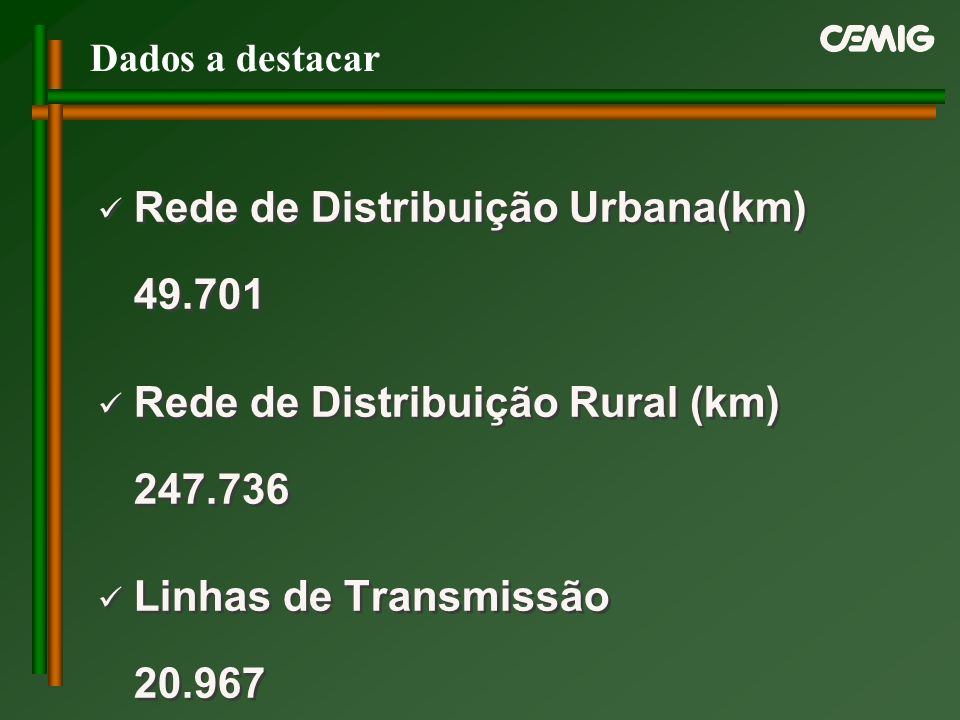 Rede de Distribuição Urbana(km) 49.701 Rede de Distribuição Rural (km) 247.736 Linhas de Transmissão 20.967 dez/99 Rede de Distribuição Urbana(km) 49.