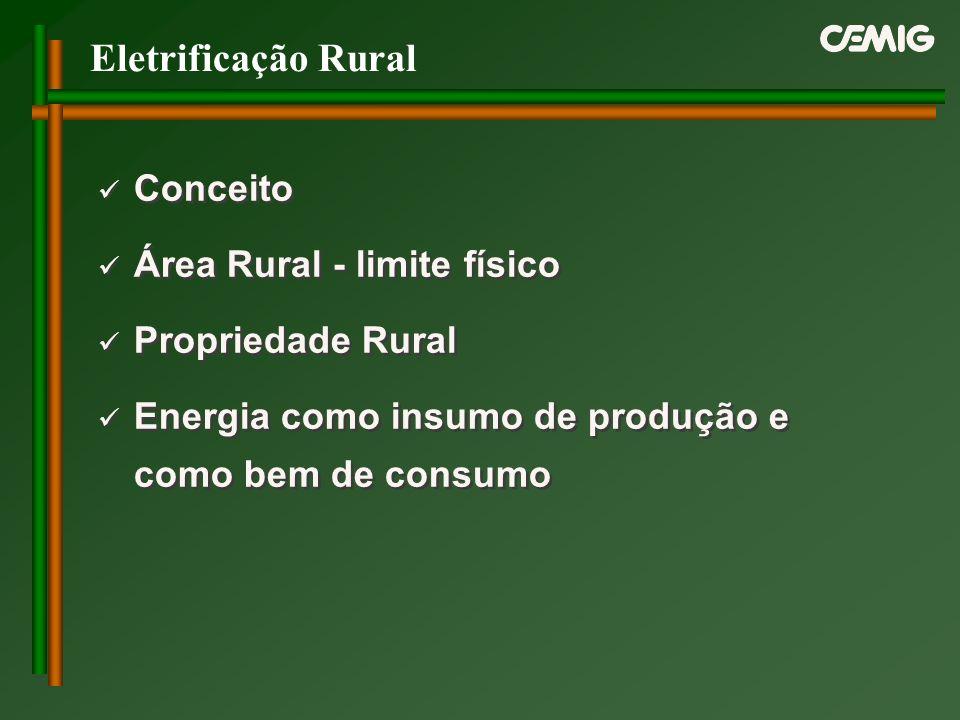 Eletrificação Rural Conceito Área Rural - limite físico Propriedade Rural Energia como insumo de produção e como bem de consumo Conceito Área Rural -