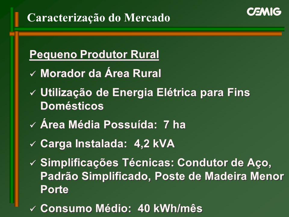 Caracterização do Mercado Pequeno Produtor Rural Morador da Área Rural Utilização de Energia Elétrica para Fins Domésticos Área Média Possuída: 7 ha C