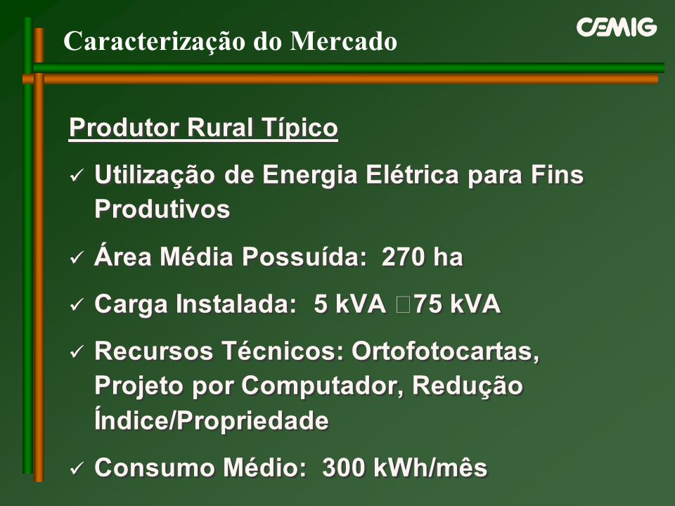 Caracterização do Mercado Produtor Rural Típico Utilização de Energia Elétrica para Fins Produtivos Área Média Possuída: 270 ha Carga Instalada: 5 kVA