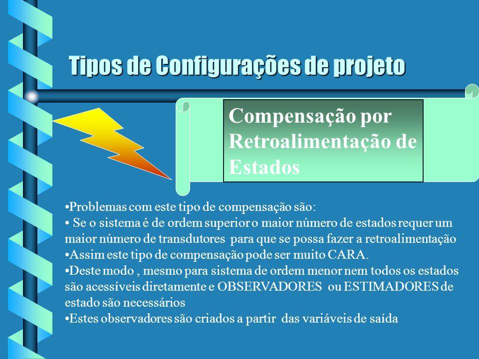Tipos de Configurações de projeto Compensação por Retroalimentação de Estados Problemas com este tipo de compensação são: Se o sistema é de ordem supe