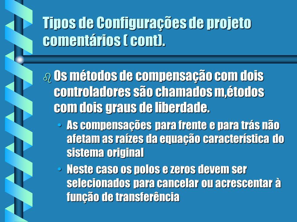b Os métodos de compensação com dois controladores são chamados m,étodos com dois graus de liberdade. As compensações para frente e para trás não afet