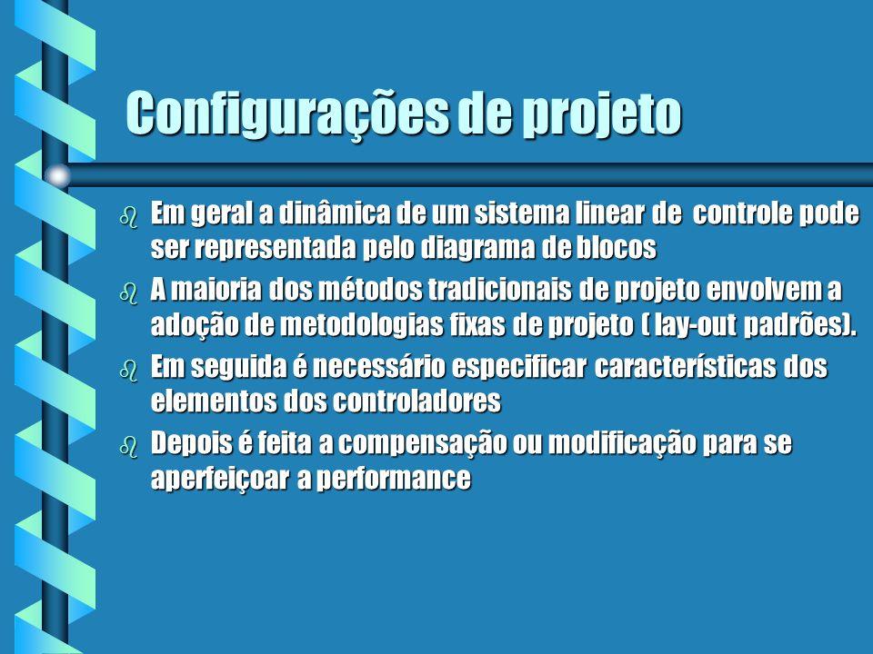 Configurações de projeto b Em geral a dinâmica de um sistema linear de controle pode ser representada pelo diagrama de blocos b A maioria dos métodos