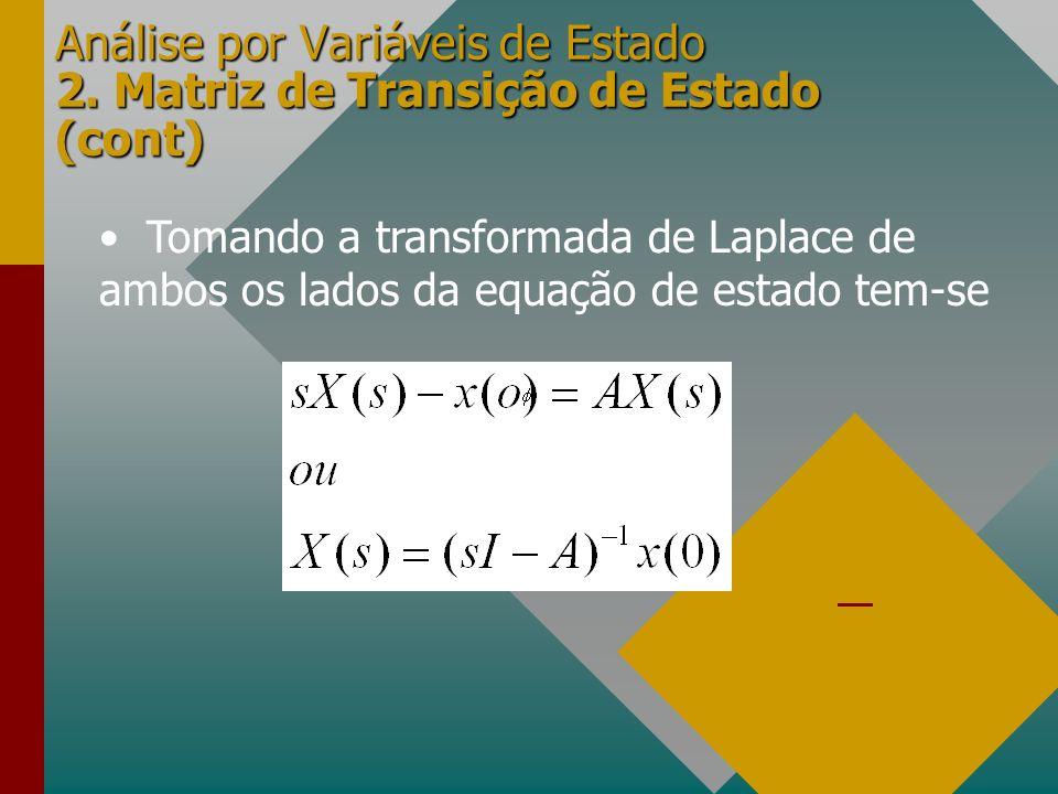 Análise por Variáveis de Estado 2. Matriz de Transição de Estado (cont) Tomando a transformada de Laplace de ambos os lados da equação de estado tem-s