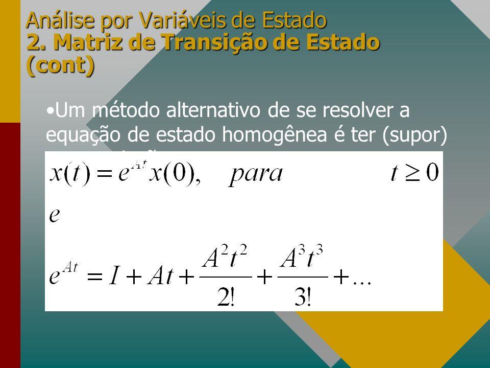Análise por Variáveis de Estado 2. Matriz de Transição de Estado (cont) Um método alternativo de se resolver a equação de estado homogênea é ter (supo