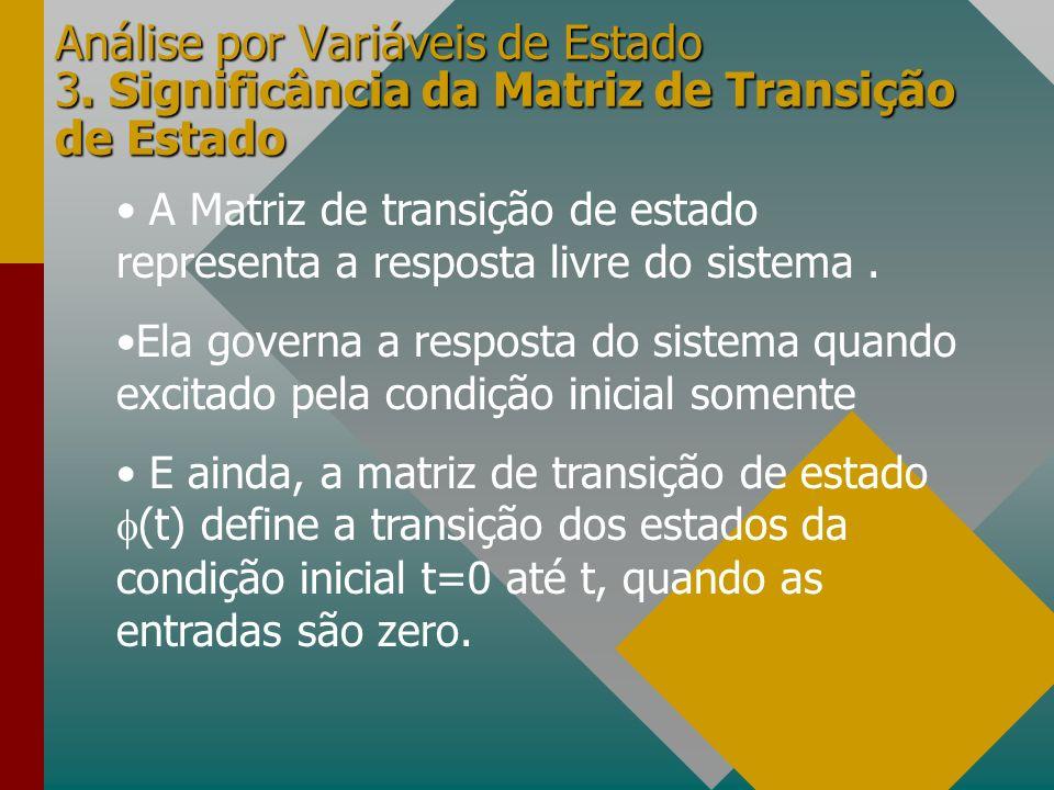 Análise por Variáveis de Estado 3. Significância da Matriz de Transição de Estado A Matriz de transição de estado representa a resposta livre do siste
