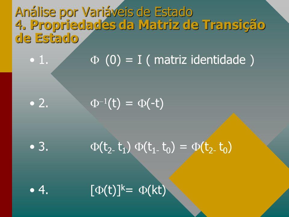 Análise por Variáveis de Estado 4. Propriedades da Matriz de Transição de Estado 1. (0) = I ( matriz identidade ) 2. (t) = (-t) 3. (t 2- t 1 ) (t 1- t