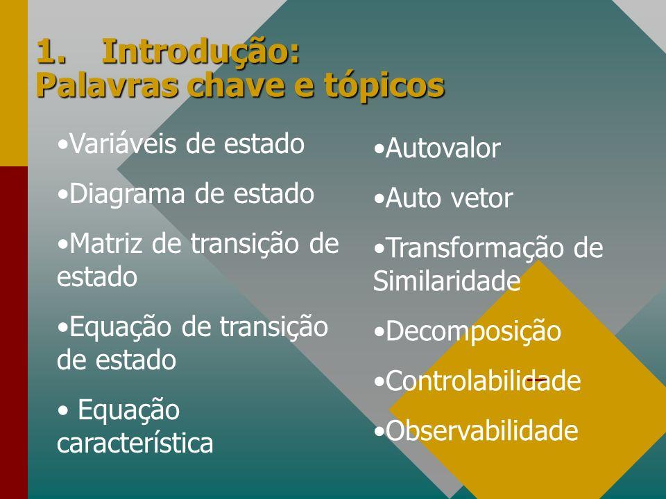 1.Introdução: Palavras chave e tópicos Variáveis de estado Diagrama de estado Matriz de transição de estado Equação de transição de estado Equação car