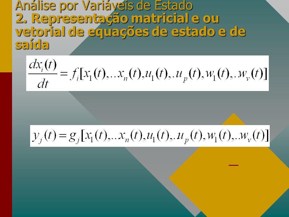 Análise por Variáveis de Estado 2. Representação matricial e ou vetorial de equações de estado e de saída