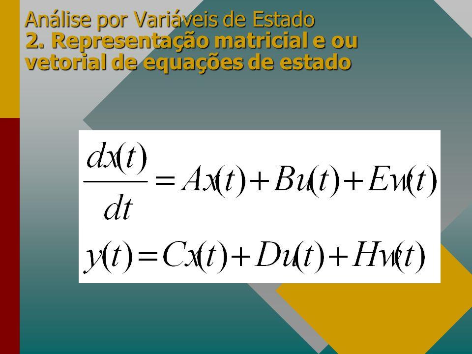 Análise por Variáveis de Estado 2. Representação matricial e ou vetorial de equações de estado