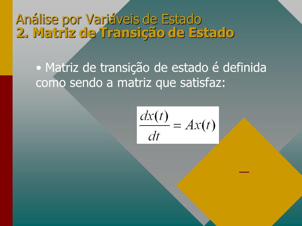Análise por Variáveis de Estado 2. Matriz de Transição de Estado Matriz de transição de estado é definida como sendo a matriz que satisfaz: