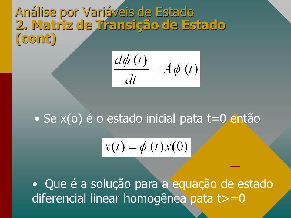 Análise por Variáveis de Estado 2. Matriz de Transição de Estado (cont) Se x(o) é o estado inicial pata t=0 então Que é a solução para a equação de es