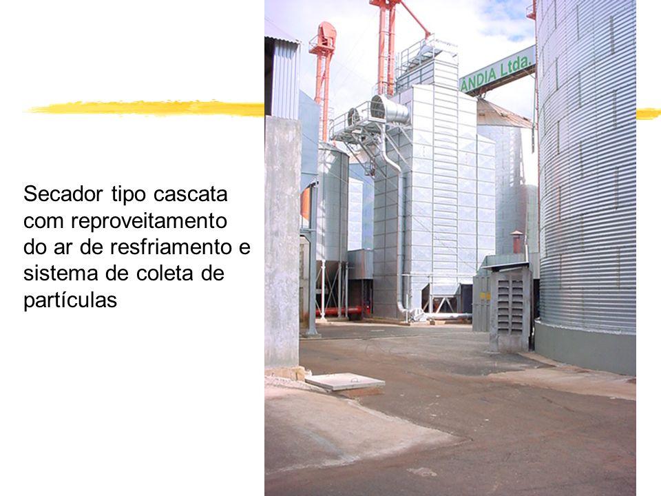 Secador tipo cascata com reproveitamento do ar de resfriamento e sistema de coleta de partículas