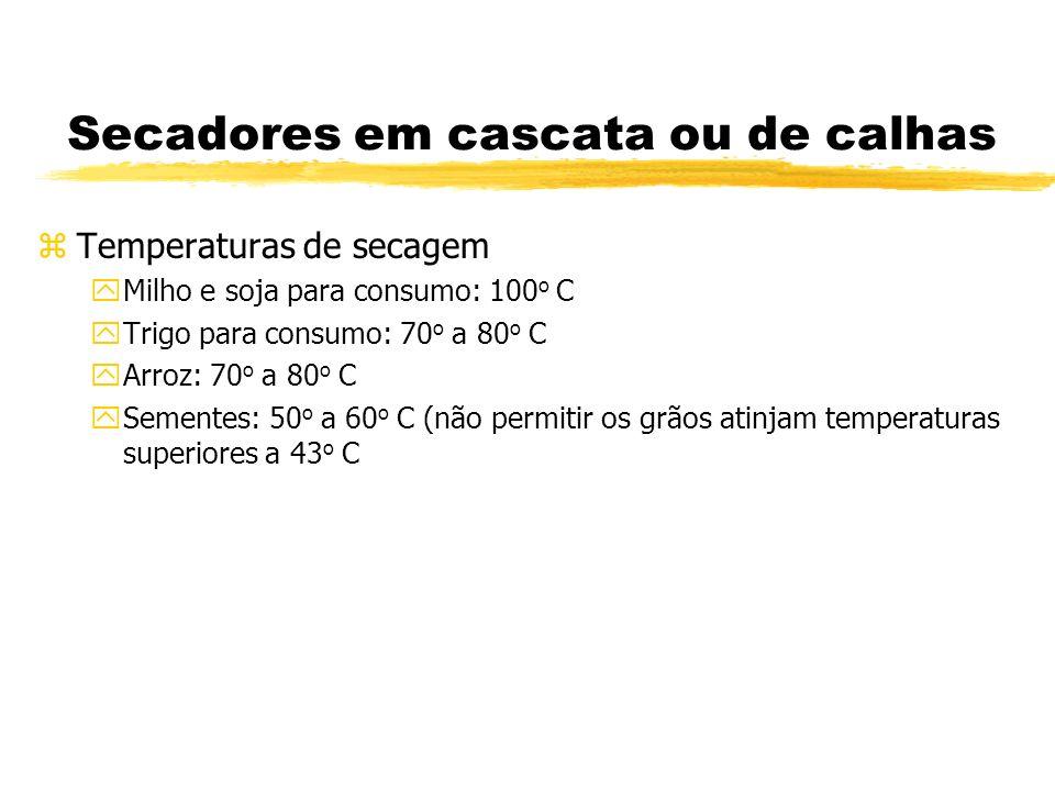 Secadores em cascata ou de calhas zTemperaturas de secagem yMilho e soja para consumo: 100 o C yTrigo para consumo: 70 o a 80 o C yArroz: 70 o a 80 o