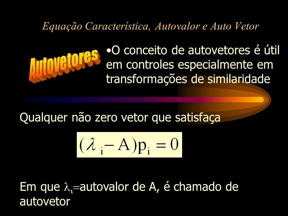 Equação Característica, Autovalor e Auto Vetor O conceito de autovetores é útil em controles especialmente em transformações de similaridade Qualquer