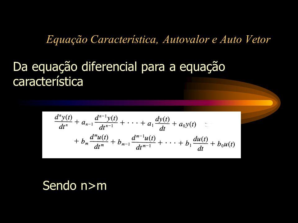 Equação Característica, Autovalor e Auto Vetor Da equação diferencial para a equação característica Sendo n>m
