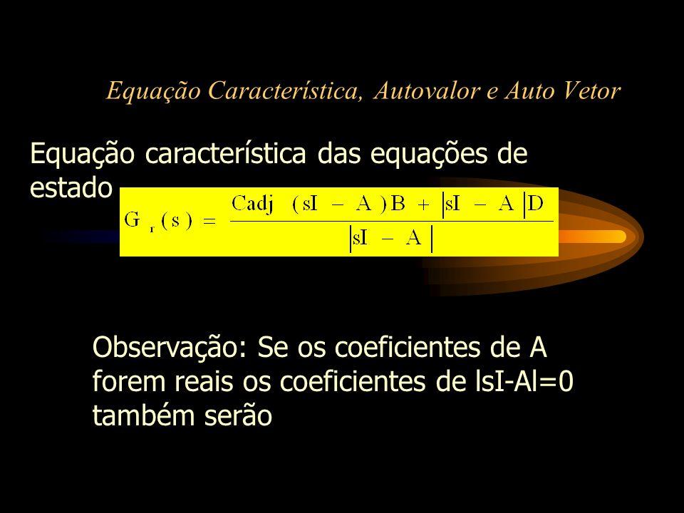 Equação Característica, Autovalor e Auto Vetor Autovalores:definição - são as raízes da equação característica e são também chamados como os autovalores da matriz A Propriedades dos autovalores Se os coeficientes de A são reais os autovalores também são reais Se 1,,..., n os autovalores de A então