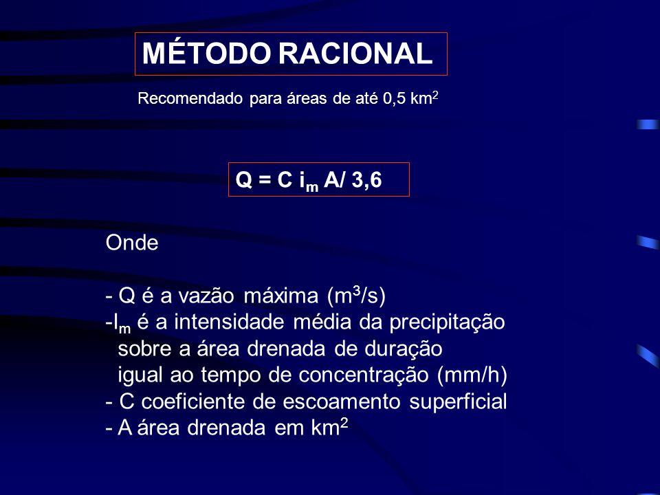 MÉTODO RACIONAL Q = C i m A/ 3,6 Onde - Q é a vazão máxima (m 3 /s) -I m é a intensidade média da precipitação sobre a área drenada de duração igual ao tempo de concentração (mm/h) - C coeficiente de escoamento superficial - A área drenada em km 2 Recomendado para áreas de até 0,5 km 2