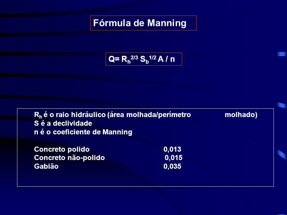 R h é o raio hidráulico (área molhada/perímetro molhado) S é a declividade n é o coeficiente de Manning Concreto polido 0,013 Concreto não-polido 0,015 Gabião0,035 Fórmula de Manning Q= R h 2/3 S b 1/2 A / n