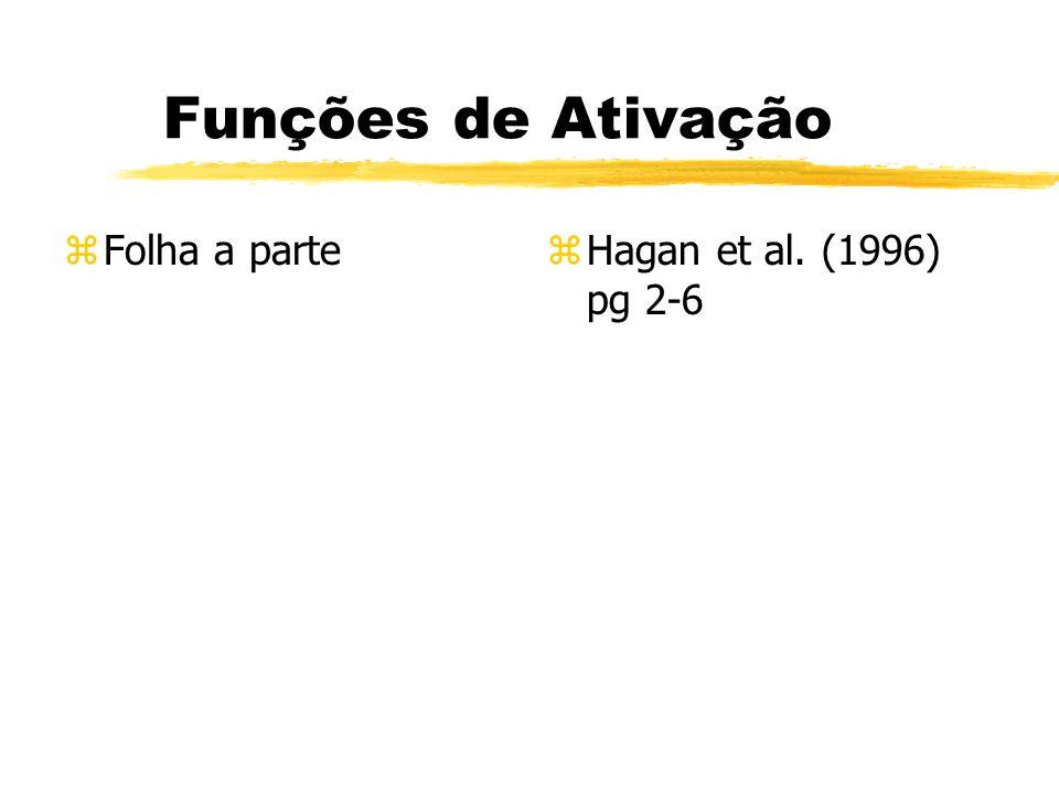 Funções de Ativação zFolha a partez Hagan et al. (1996) pg 2-6