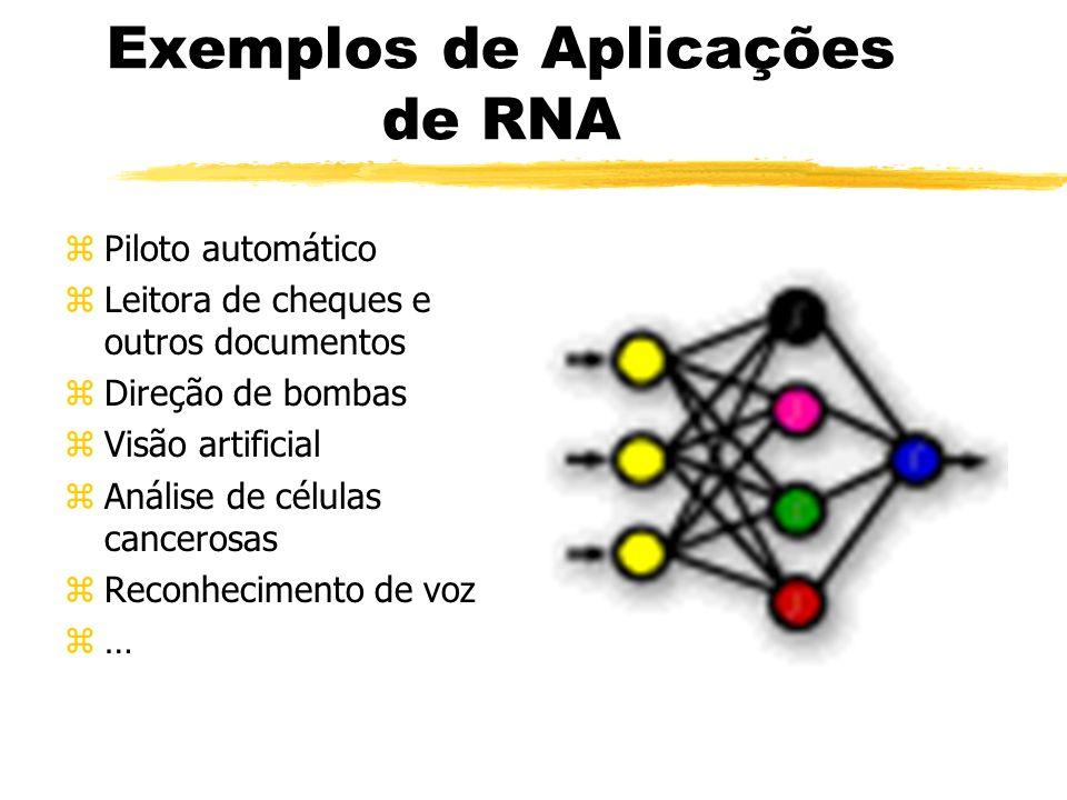 Exemplos de Aplicações de RNA zPiloto automático zLeitora de cheques e outros documentos zDireção de bombas zVisão artificial zAnálise de células canc