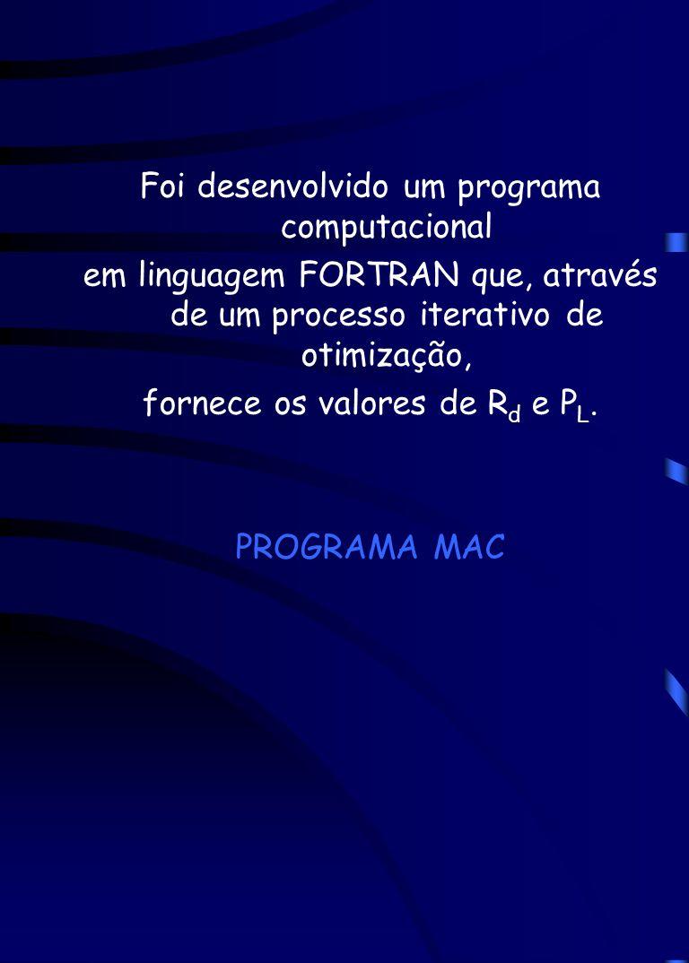 Foi desenvolvido um programa computacional em linguagem FORTRAN que, através de um processo iterativo de otimização, fornece os valores de R d e P L.