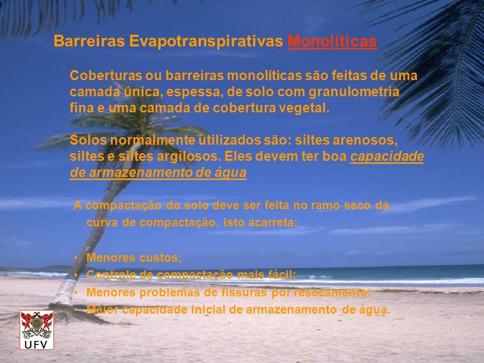Barreiras Evapotranspirativas Monolíticas Coberturas ou barreiras monolíticas são feitas de uma camada única, espessa, de solo com granulometria fina