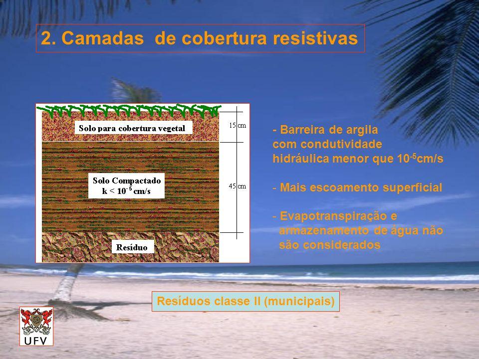 2. Camadas de cobertura resistivas - Barreira de argila com condutividade hidráulica menor que 10 -5 cm/s - Mais escoamento superficial - Evapotranspi