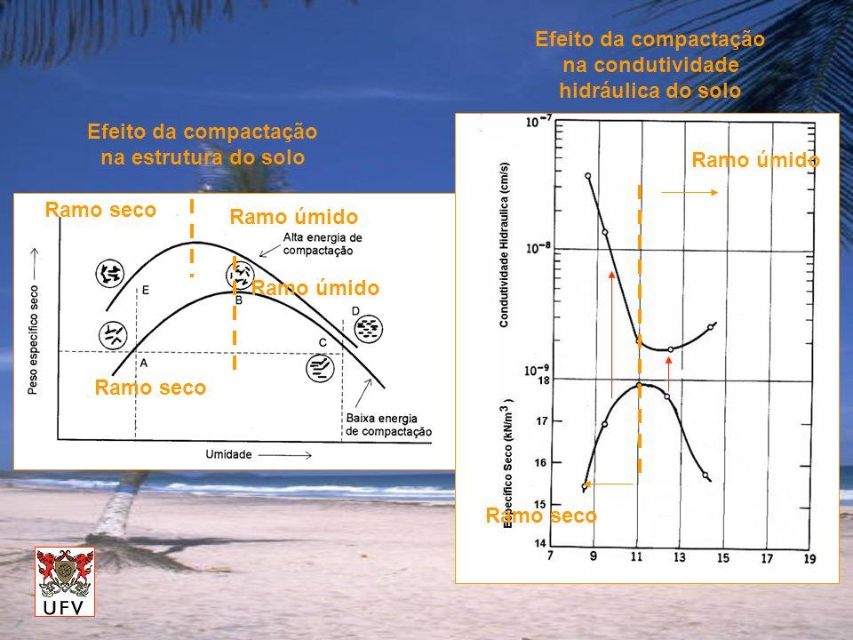 Ramo seco Ramo úmido Efeito da compactação na estrutura do solo Efeito da compactação na condutividade hidráulica do solo Ramo seco Ramo úmido