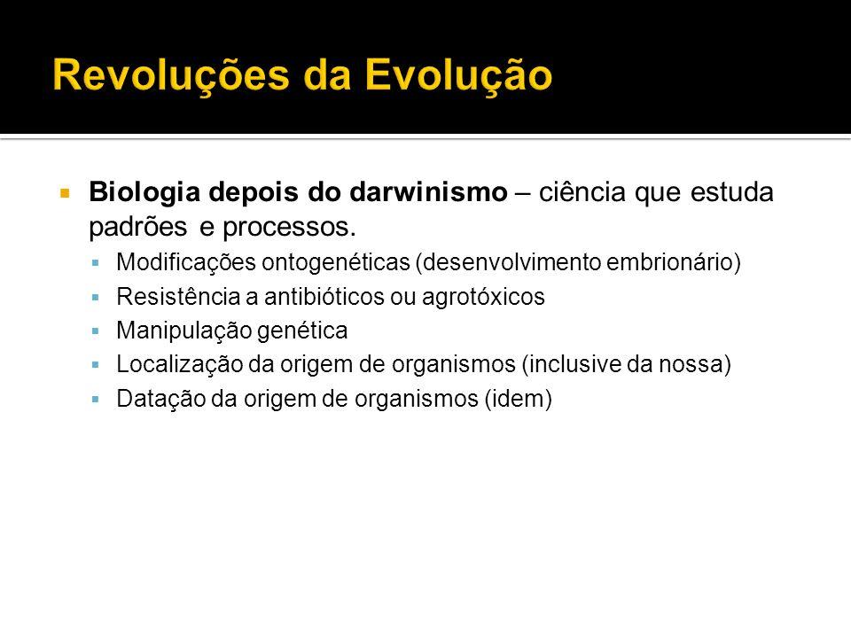 Biologia depois do darwinismo – ciência que estuda padrões e processos. Modificações ontogenéticas (desenvolvimento embrionário) Resistência a antibió