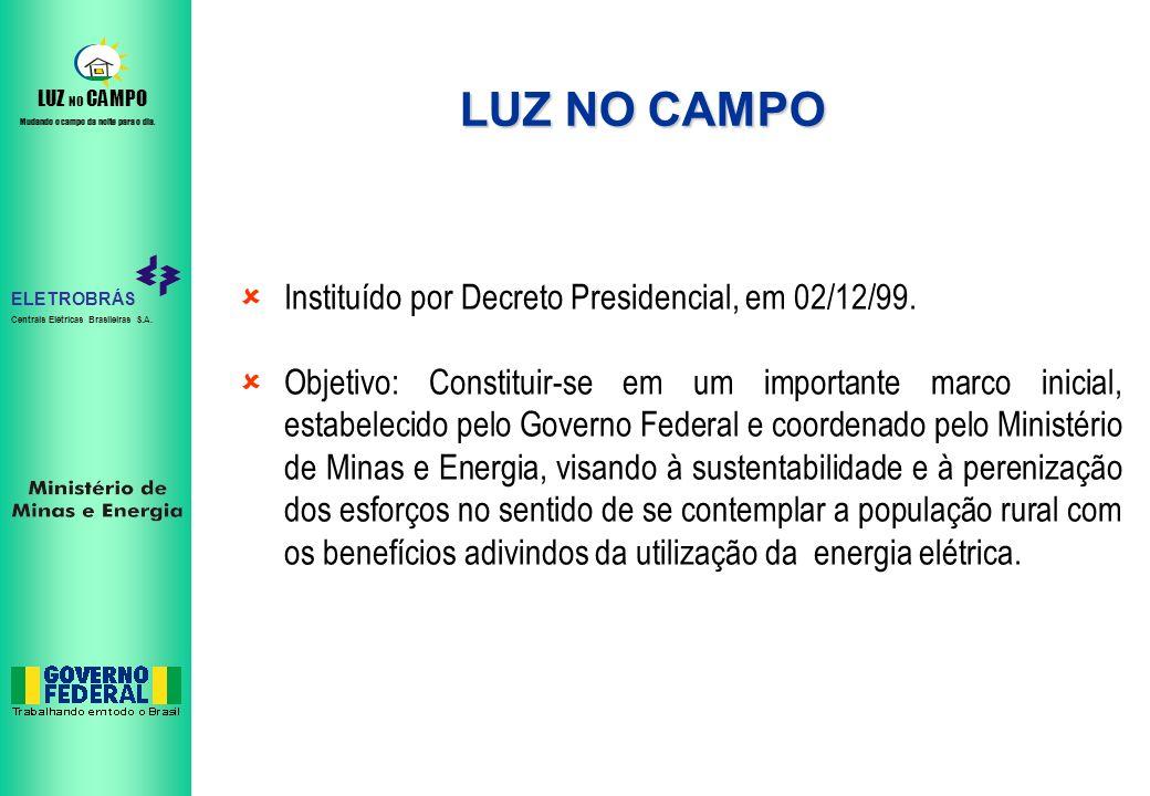 ELETROBRÁS Centrais Elétricas Brasileiras S.A. LUZ NO CAMPO Mudando o campo da noite para o dia. LUZ NO CAMPO Instituído por Decreto Presidencial, em