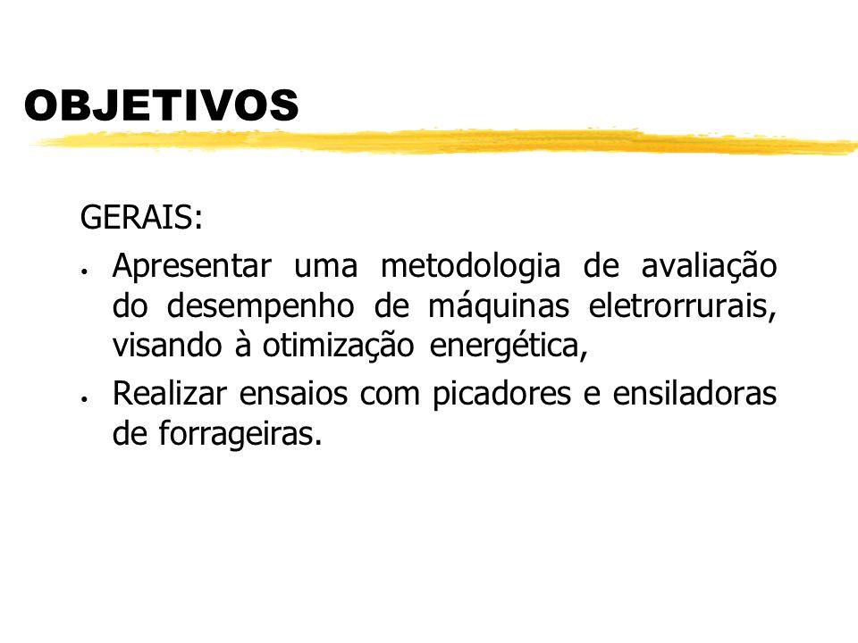 OBJETIVOS GERAIS: Apresentar uma metodologia de avaliação do desempenho de máquinas eletrorrurais, visando à otimização energética, Realizar ensaios com picadores e ensiladoras de forrageiras.