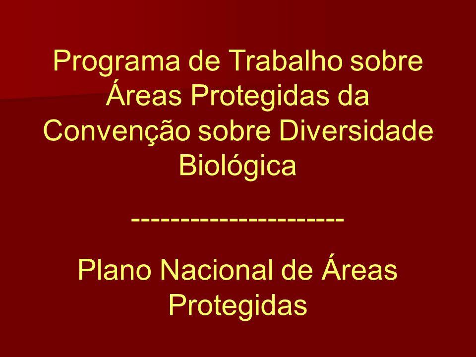 Programa de Trabalho sobre Áreas Protegidas da Convenção sobre Diversidade Biológica ---------------------- Plano Nacional de Áreas Protegidas
