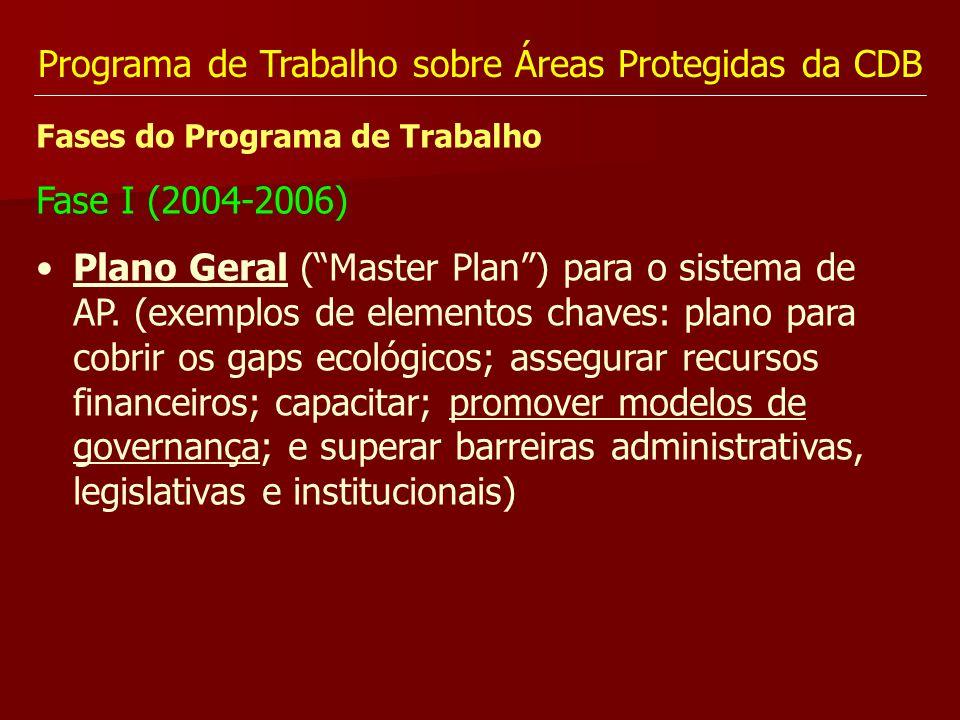 Programa de Trabalho sobre Áreas Protegidas da CDB Fases do Programa de Trabalho Fase I (2004-2006) Plano Geral (Master Plan) para o sistema de AP. (e