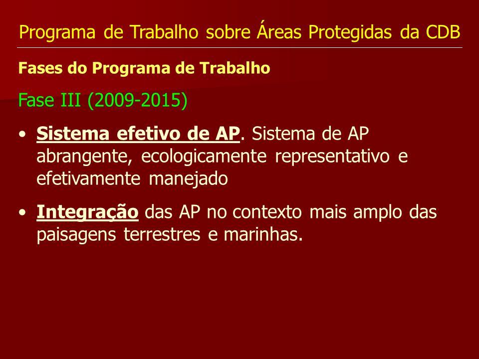 Programa de Trabalho sobre Áreas Protegidas da CDB Fases do Programa de Trabalho Fase III (2009-2015) Sistema efetivo de AP. Sistema de AP abrangente,