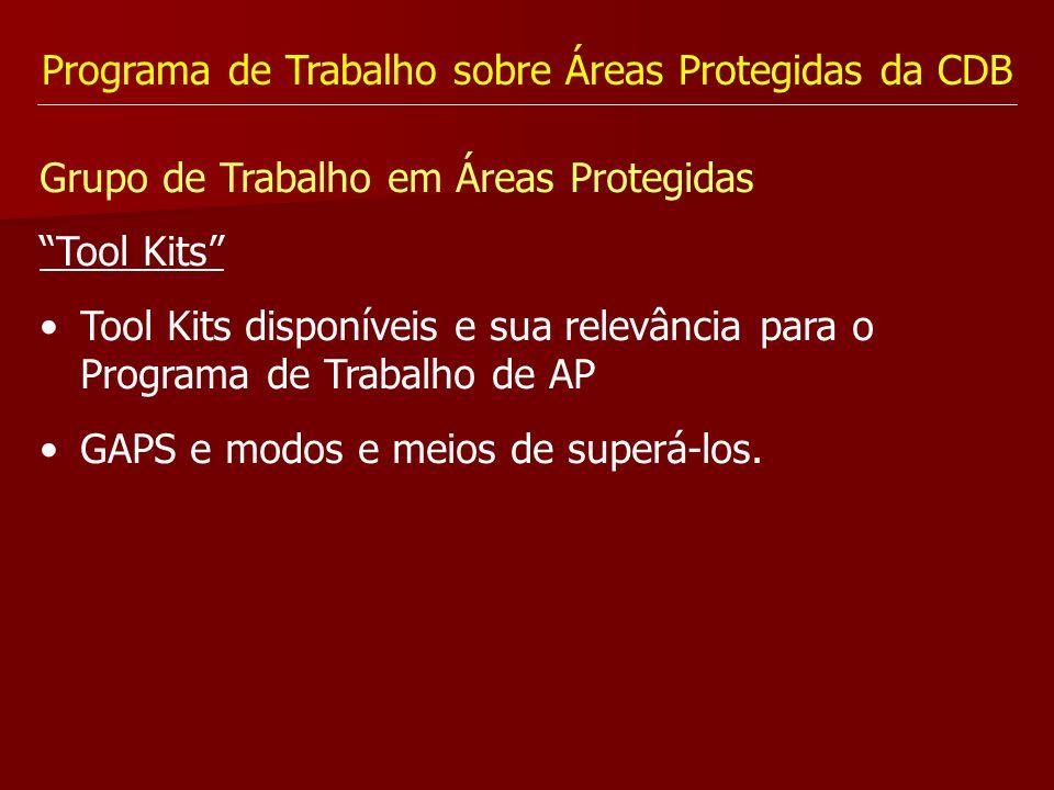 Programa de Trabalho sobre Áreas Protegidas da CDB Grupo de Trabalho em Áreas Protegidas Tool Kits Tool Kits disponíveis e sua relevância para o Progr
