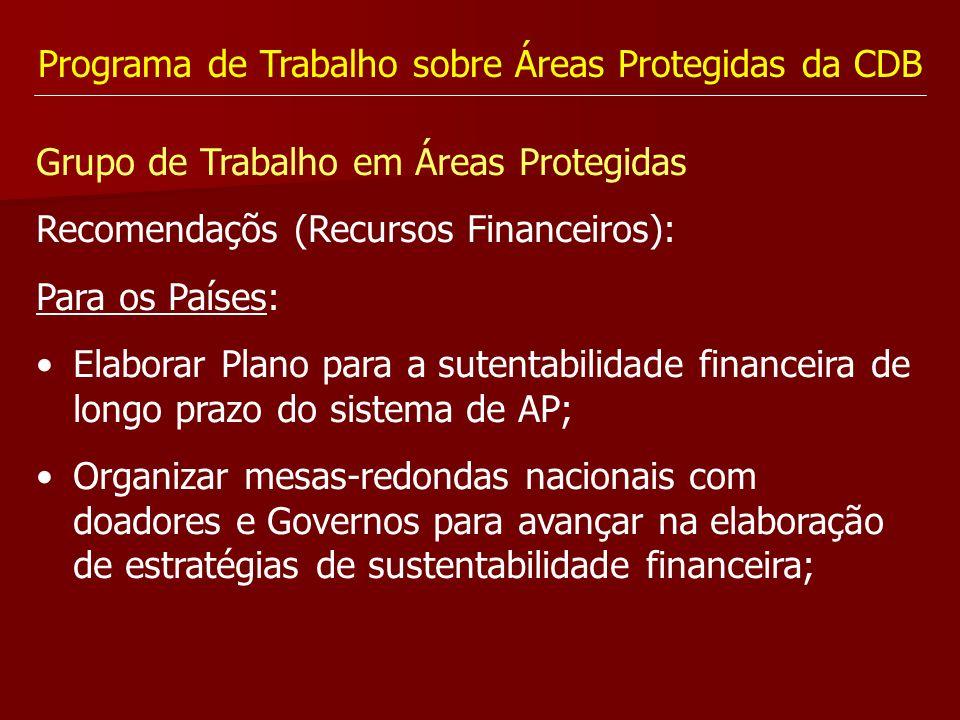 Programa de Trabalho sobre Áreas Protegidas da CDB Grupo de Trabalho em Áreas Protegidas Recomendaçõs (Recursos Financeiros): Para os Países: Elaborar