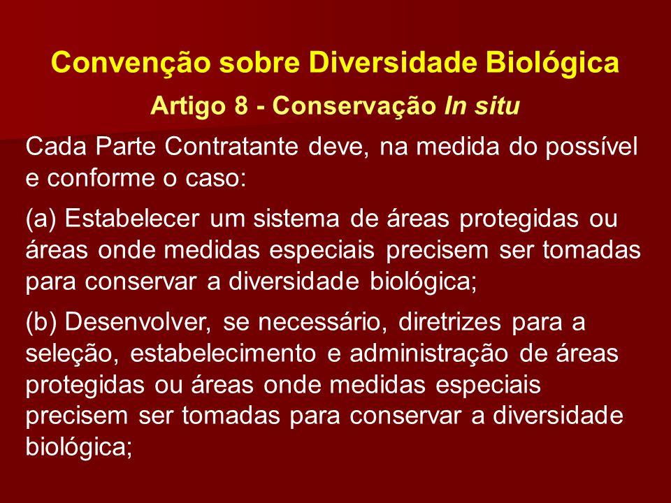 Convenção sobre Diversidade Biológica Artigo 8 - Conservação In situ Cada Parte Contratante deve, na medida do possível e conforme o caso: (a) Estabel