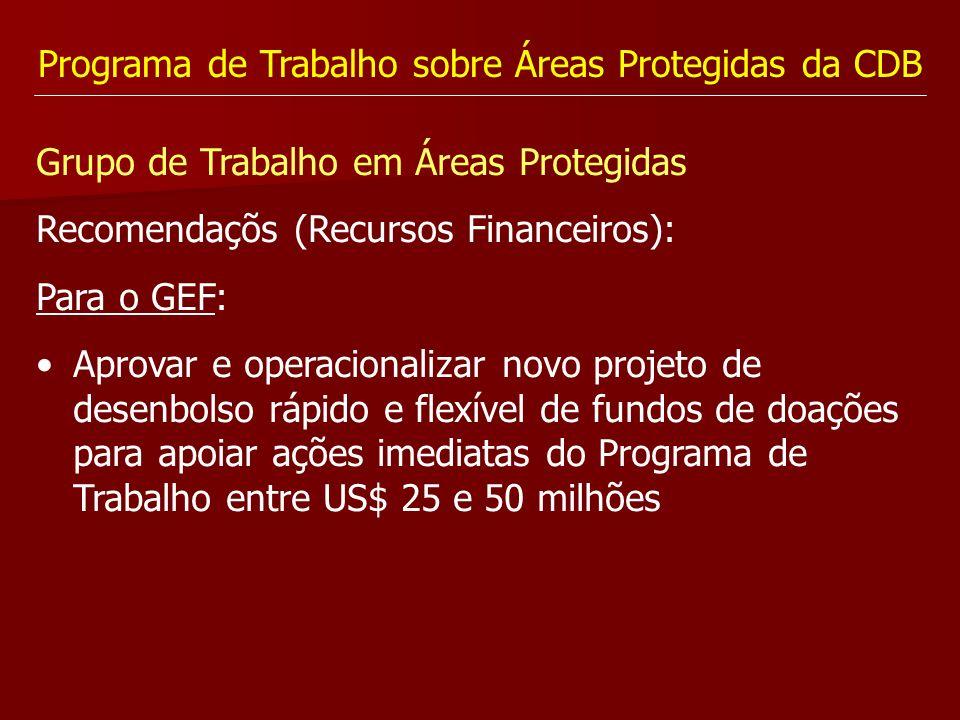 Programa de Trabalho sobre Áreas Protegidas da CDB Grupo de Trabalho em Áreas Protegidas Recomendaçõs (Recursos Financeiros): Para o GEF: Aprovar e op
