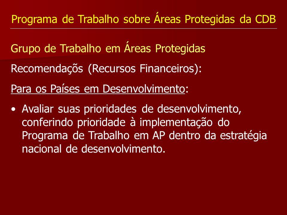 Programa de Trabalho sobre Áreas Protegidas da CDB Grupo de Trabalho em Áreas Protegidas Recomendaçõs (Recursos Financeiros): Para os Países em Desenv
