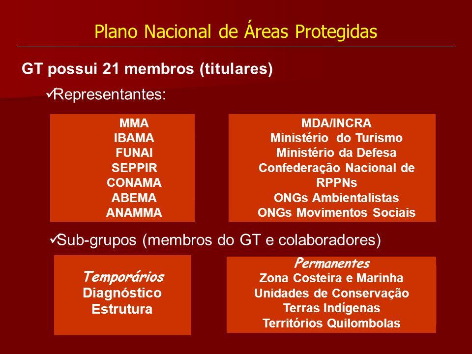 Plano Nacional de Áreas Protegidas GT possui 21 membros (titulares) Representantes: MMA IBAMA FUNAI SEPPIR CONAMA ABEMA ANAMMA MDA/INCRA Ministério do