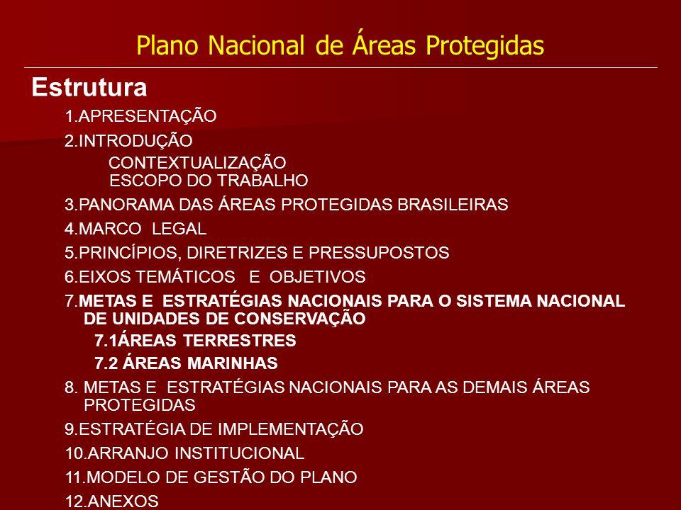 Plano Nacional de Áreas Protegidas Estrutura 1.APRESENTAÇÃO 2.INTRODUÇÃO CONTEXTUALIZAÇÃO ESCOPO DO TRABALHO 3.PANORAMA DAS ÁREAS PROTEGIDAS BRASILEIR