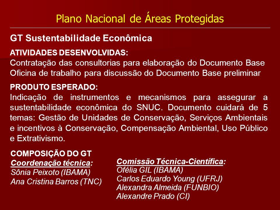 Plano Nacional de Áreas Protegidas ATIVIDADES DESENVOLVIDAS: Contratação das consultorias para elaboração do Documento Base Oficina de trabalho para d