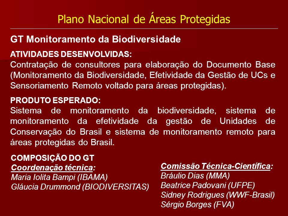 Plano Nacional de Áreas Protegidas ATIVIDADES DESENVOLVIDAS: Contratação de consultores para elaboração do Documento Base (Monitoramento da Biodiversi
