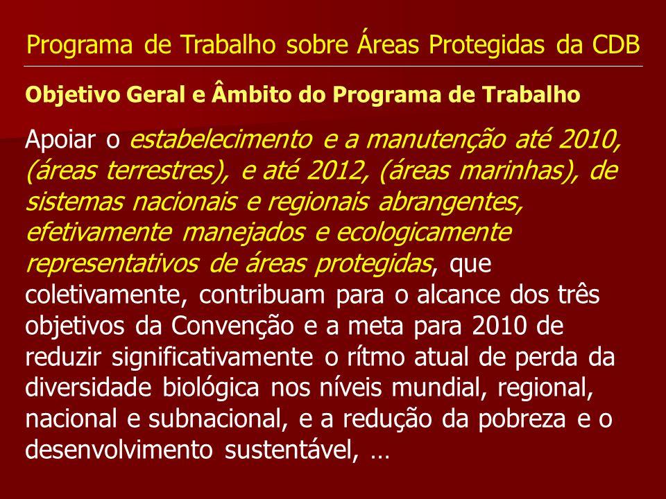 Programa de Trabalho sobre Áreas Protegidas da CDB Objetivo Geral e Âmbito do Programa de Trabalho Apoiar o estabelecimento e a manutenção até 2010, (