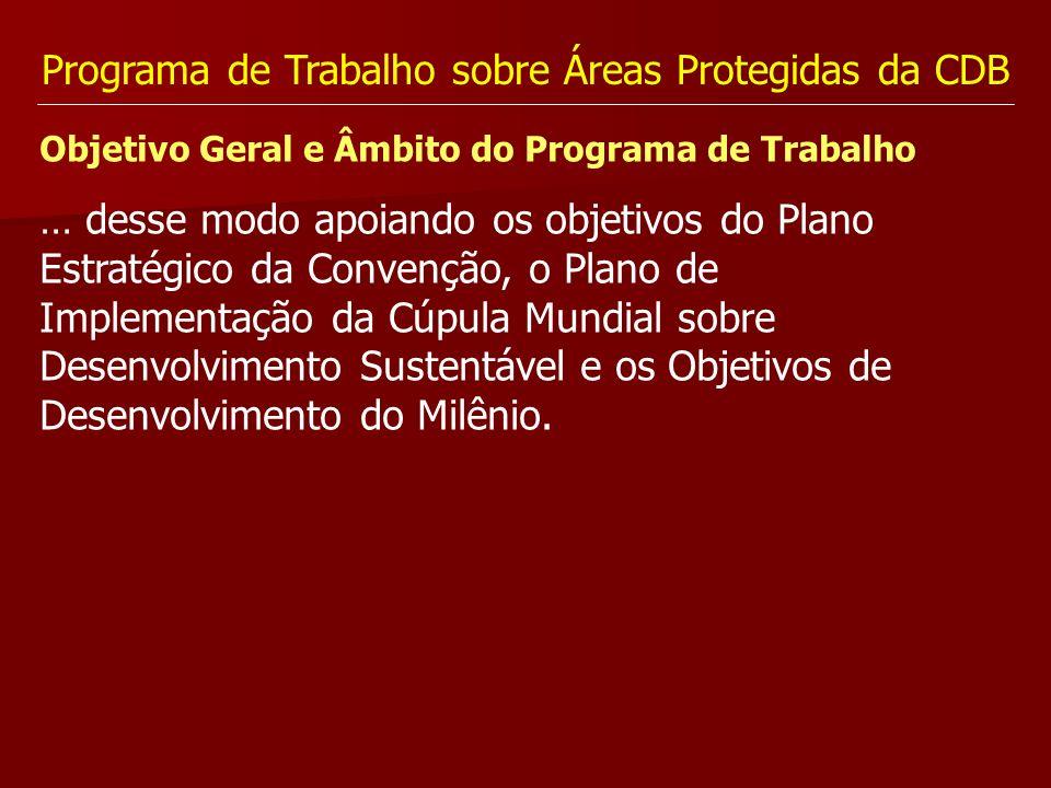 Programa de Trabalho sobre Áreas Protegidas da CDB Objetivo Geral e Âmbito do Programa de Trabalho … desse modo apoiando os objetivos do Plano Estraté