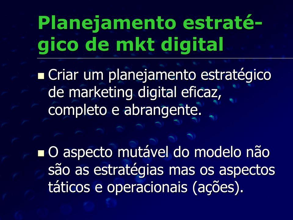 Planejamento estraté- gico de mkt digital Criar um planejamento estratégico de marketing digital eficaz, completo e abrangente. Criar um planejamento