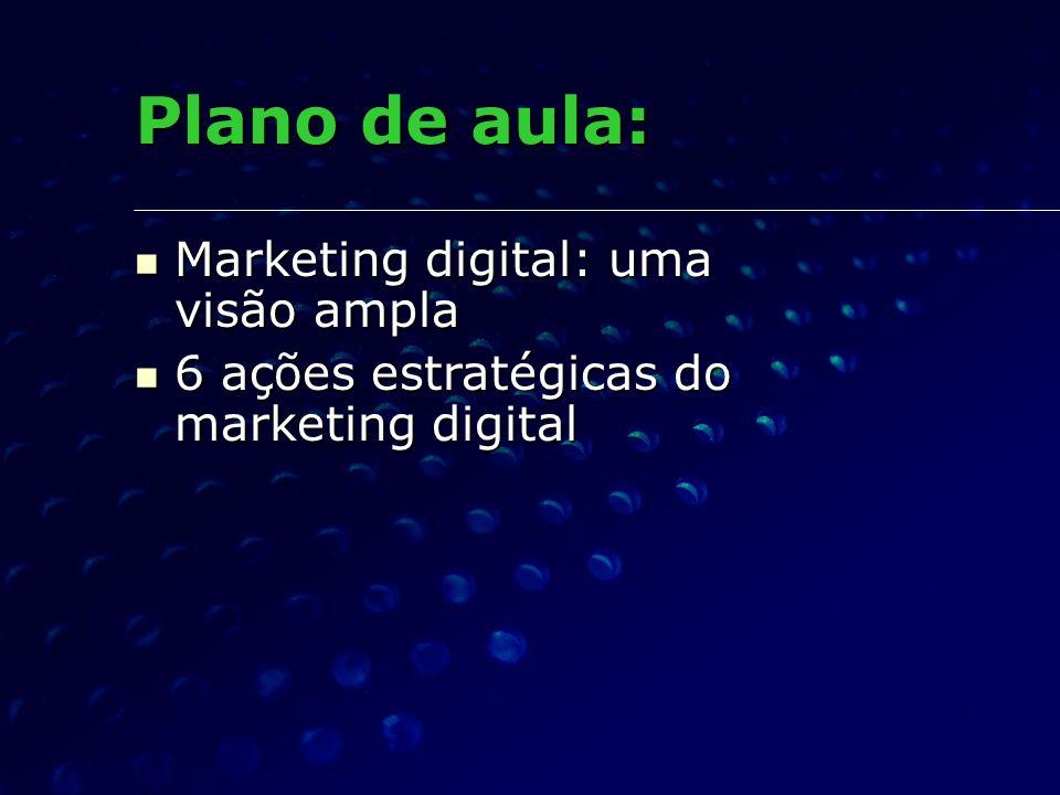 Plano de aula: Marketing digital: uma visão ampla Marketing digital: uma visão ampla 6 ações estratégicas do marketing digital 6 ações estratégicas do