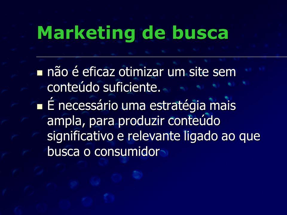 Marketing de busca não é eficaz otimizar um site sem conteúdo suficiente. não é eficaz otimizar um site sem conteúdo suficiente. É necessário uma estr