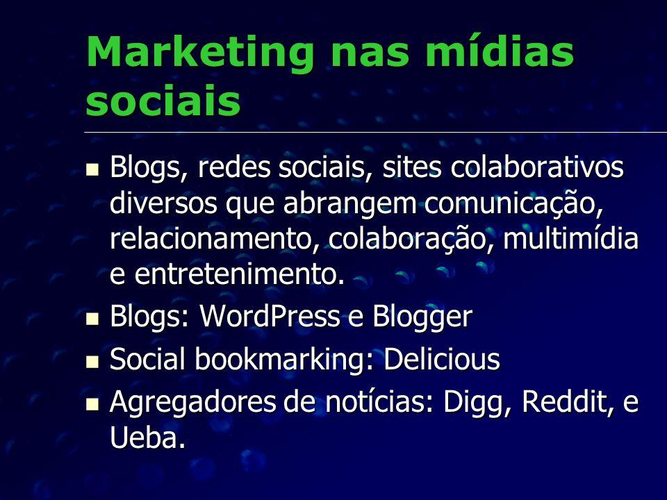 Marketing nas mídias sociais Blogs, redes sociais, sites colaborativos diversos que abrangem comunicação, relacionamento, colaboração, multimídia e en